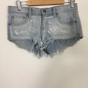 Carmar White Lace Front Cut Off Jean Shorts